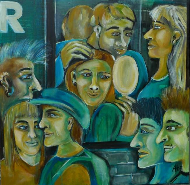 der Salon, Acryl auf LW, 80 x 80 cm, © Anja Hühn 2015